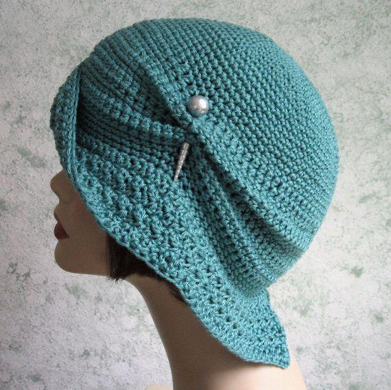 Womens Crochet Hat Pattern Flapper Cloche With por kalliedesigns