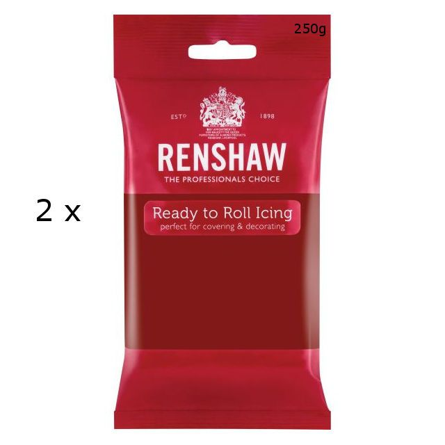 2 X Renshaw Ready To Roll Icing Fondant Cake Regalice Sugarpaste 250G Ruby Red