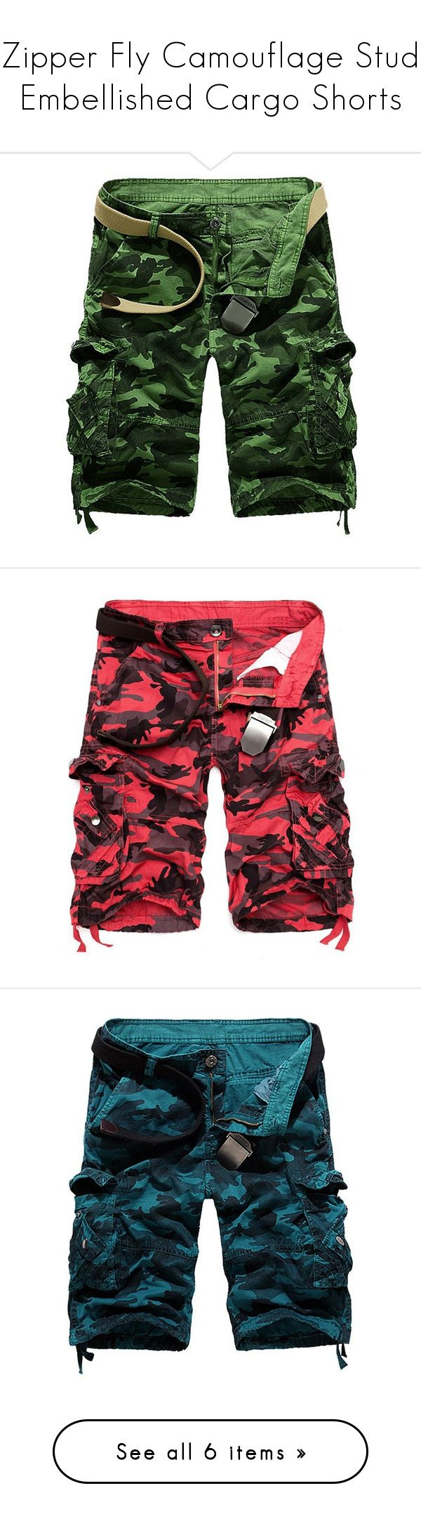 """""""Zipper Fly Camouflage Stud Embellished Cargo Shorts"""" by rosegal-official ❤ liked on Polyvore featuring men's fashion, men's clothing, men's shorts, mens camo shorts, camouflage mens shorts, mens camo cargo shorts, mens cargo shorts, mens zipper pocket shorts and mens camouflage cargo shorts"""