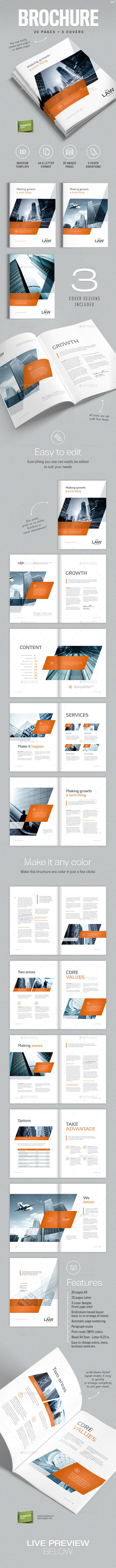 Professional, clean and modern 20 page corporate business brochure #indesign #stylish #template • Available here → http://graphicriver.net/item/brochure-template-for-indesign-a4-and-letter/12149923?s_rank=44&ref=pxcr