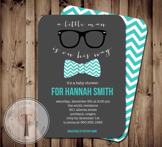 Little Man Baby Shower Invitation Bow Tie Baby by T3DesignsCo, $12.99