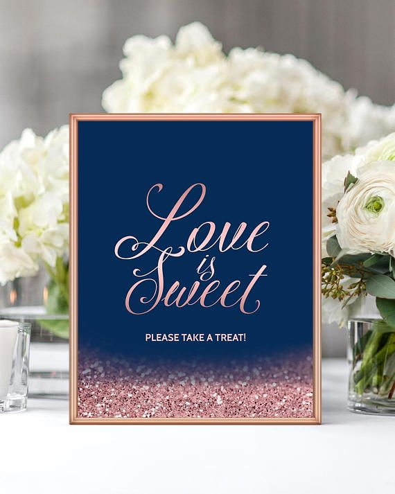 Love Is Sweet Please Take A Treat Wedding Sign Navy Blush