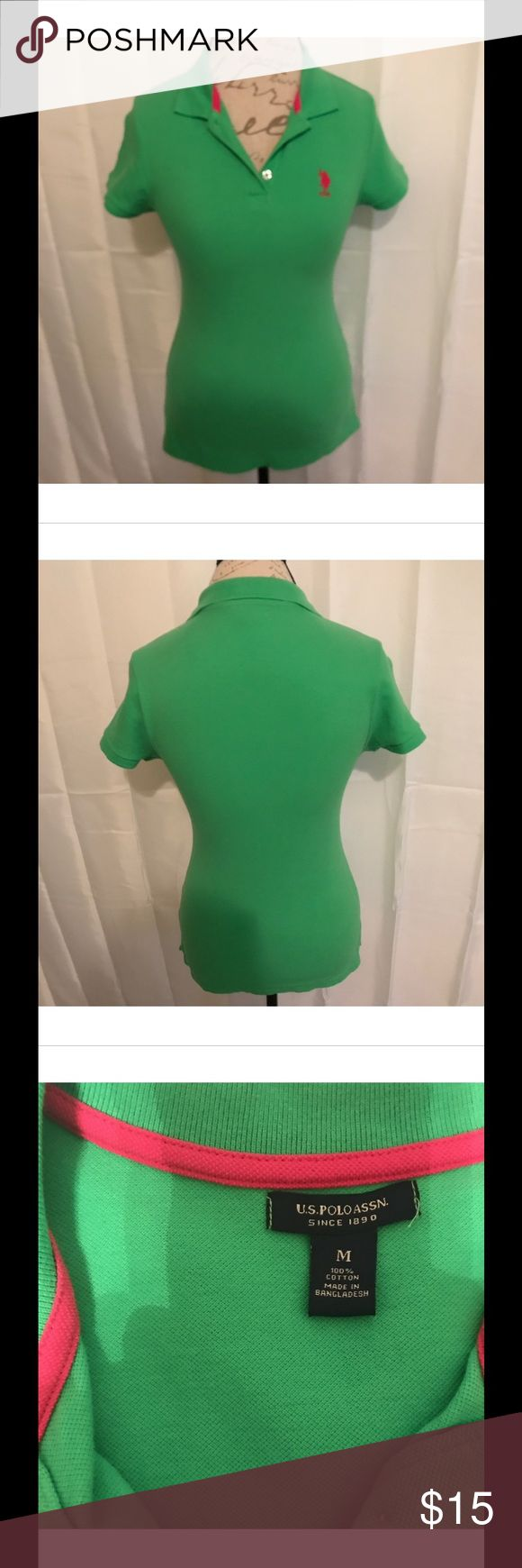 ✳️US POLO ASSN GREEN POLO SHIRT SIZE M✳️ US Polo Assn women's size M polo shirt - brand new condition - washed once but never worn U.S. Polo Assn. Tops