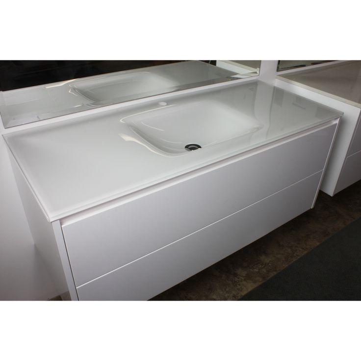 Aurora White Glass Vanity Top 1200mm