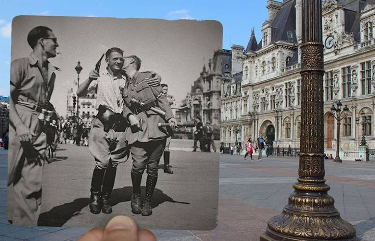 Paris picture overlays by French photographer Julien Knez, showing Paris in the 1940s against a backdrop of how the same places look today.