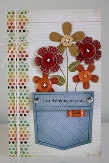 Jeans pocket with flowers. this is DEFINITELY a good idea for a patriotic card! the blue would be the jean pocket!