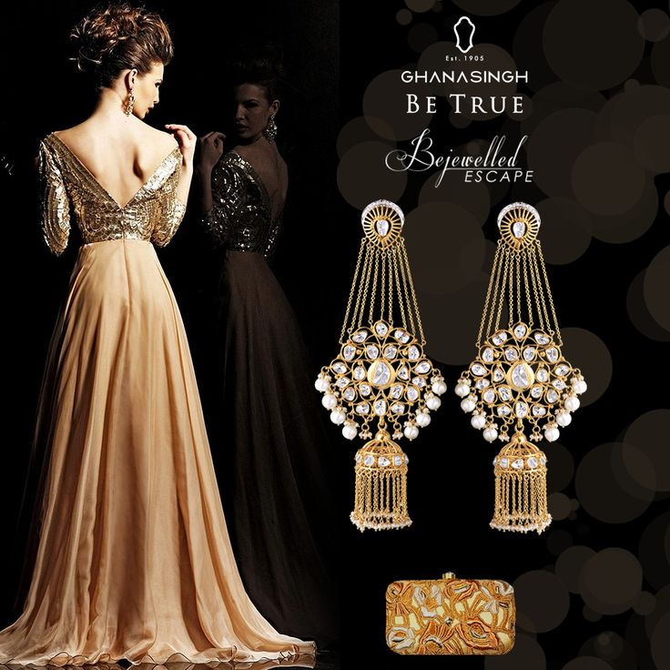 Without a word, subtlety speaks the loudest. Team up your #gorgeous #cocktail #party #gown with a pair of #earrings from #Ghanasingh's #Bejewelled #Escape #Collection.