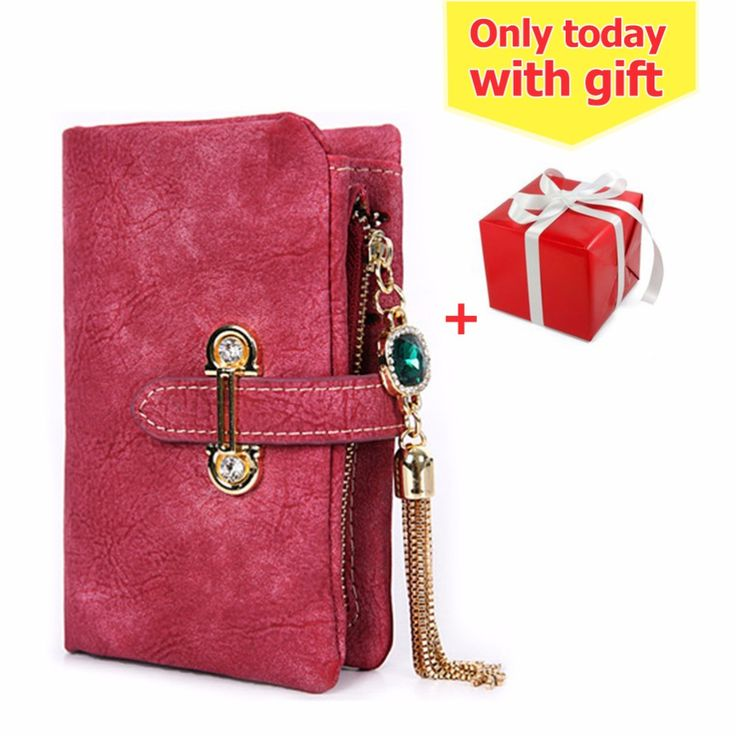 2016 fashion short matte ladies wallet vintage tassel zipper and hasp womens wallets and purses Money Bag free shipping  #wallet #purse #clutch