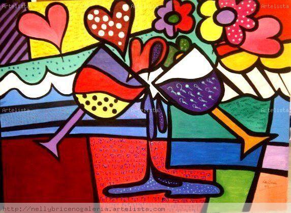 Brindemos a lo Romero Britto nelly briceño - Artelista.com