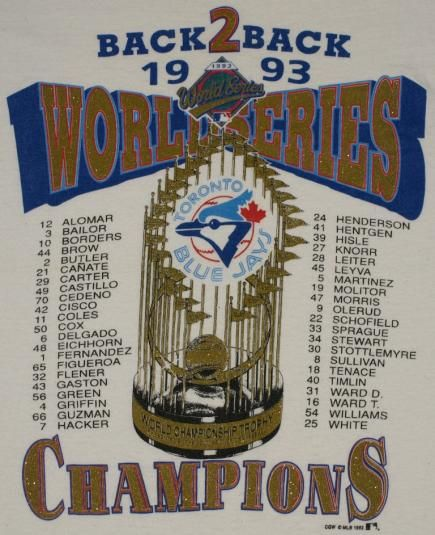 Vintage 1993 Toronto Blue Jays World Series T-Shirt. Glitter graphics on front. Shirt looks like it has never been worn.