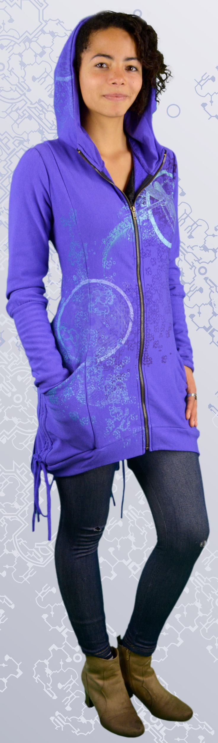 Bamboo Bustle Jacket made in Canada from organic fabric. A unique women's hoodie printed with dragonfly art and sacred geometry, mandalas, i-ching designs.