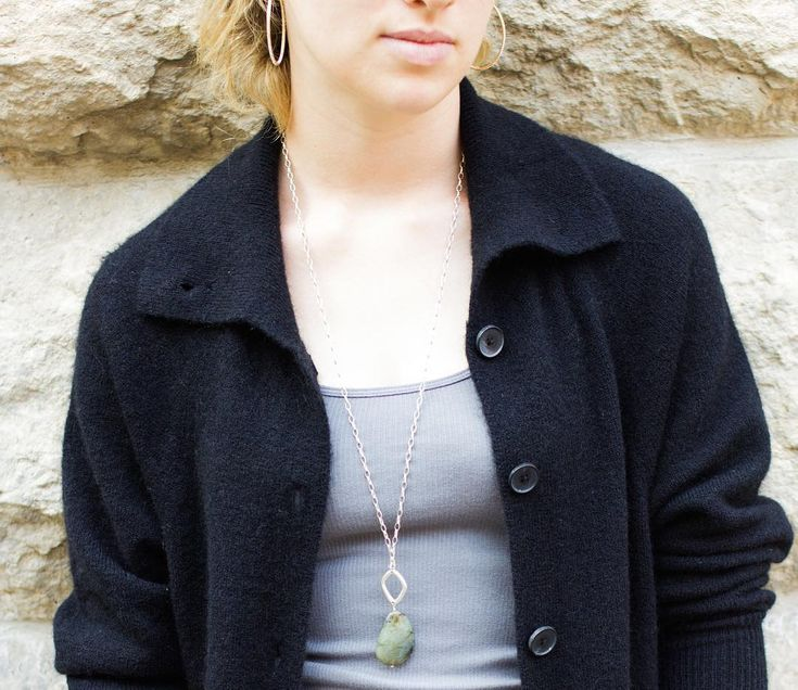 Chunky labradorite necklace perfect for layering over sweaters