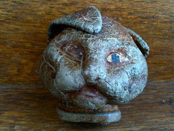 Antique English Stick Puppet Rabbit Head by EnglishShop on Etsy