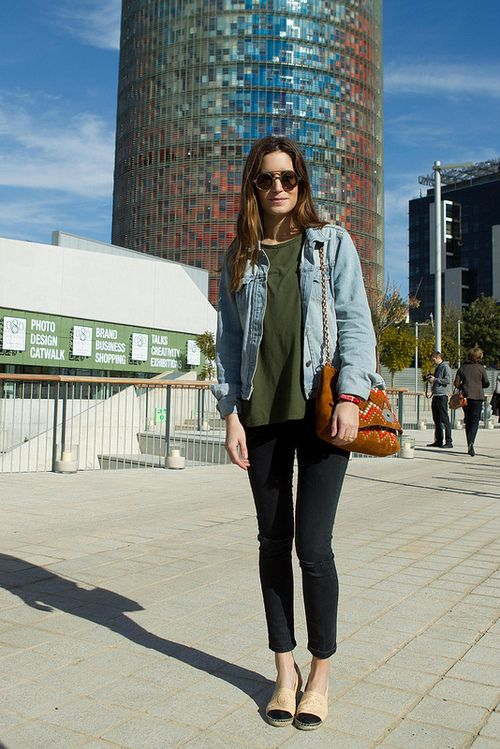 denim button down instead of jacket but over-all basic and cute.