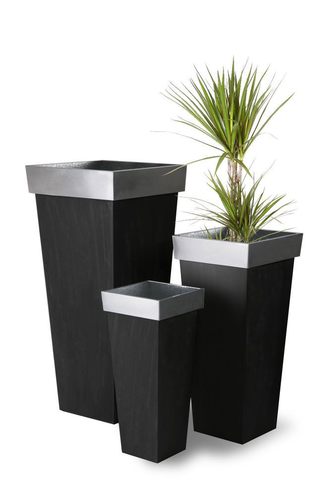Details About Zinc Tall Flared Square Garden Planter Metal Plant Pot