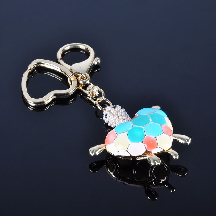 New Trendy Cute Colorful Tortoise Pearl Key Ring Sex Key Chain