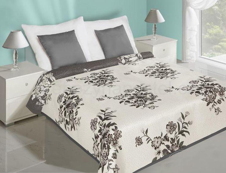 Květiny přehoz na postel oboustranný bílo šedé barvy