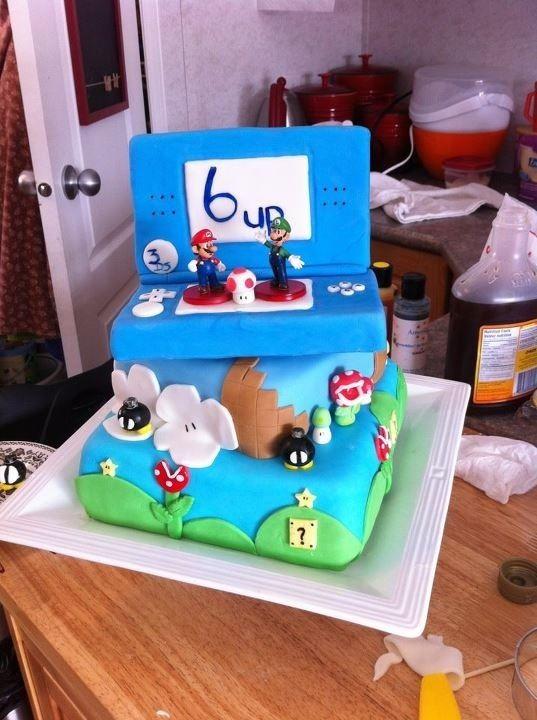 Mario birthday cake. Visit http://www.pinterest.com/debeloh for more!