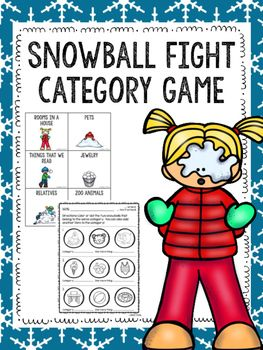 This product contains one category game and eight black and white worksheet pages.  To prepare and play the snowball fight game:Print pages 3 through 13.  Print 4-5 copies of page 14  more or less depending on the length of the activity.  Laminate all pages and cut apart cards.