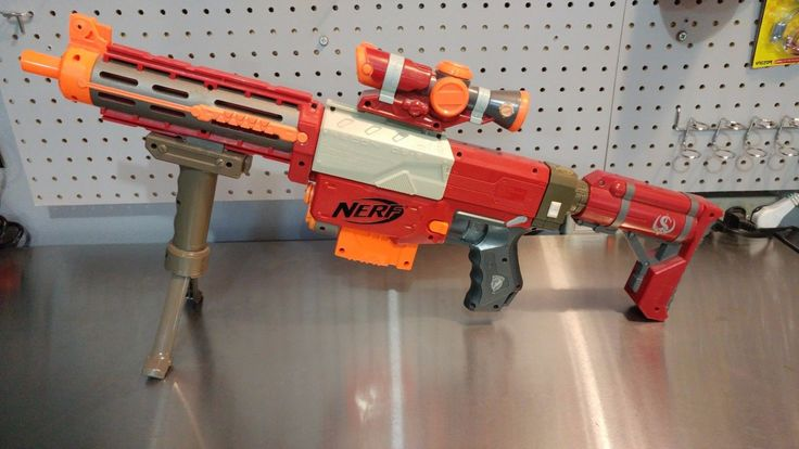 RARE Crimson Nerf Recon CS-6 full custom Orange Mod Works