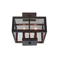 4-Light Oil Rubbed Bronze Tallarook Panel Glass Semi-Flush Mount