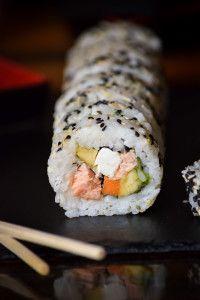 Smoked Salmon Philadelphia Roll Sushi,