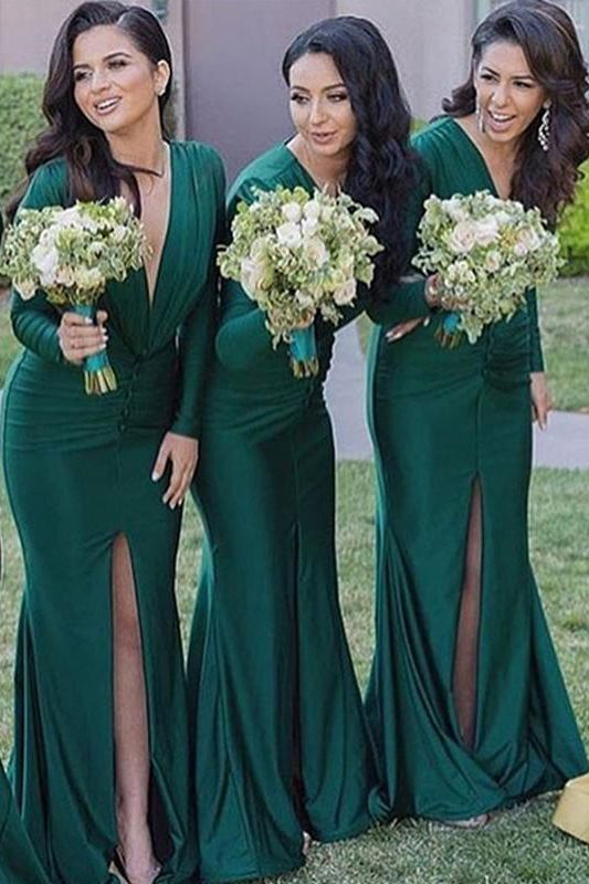 Mermaid V-Neck Slit-Front Emerald Green Bridesmaid Dress with Long Sleeves