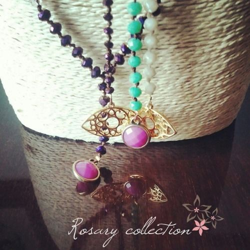 Twiniñas Rosary Collection  #twiniñas #twininas #rosary #collection #rosaries #aw1415 #christmas #mood #fashion #girls #blogging #love #ss15 #etsy #shop #etsyfind #etsyhunters #loveit #purple #green #iridescent #golden #eye #crystal #cream #necklaces