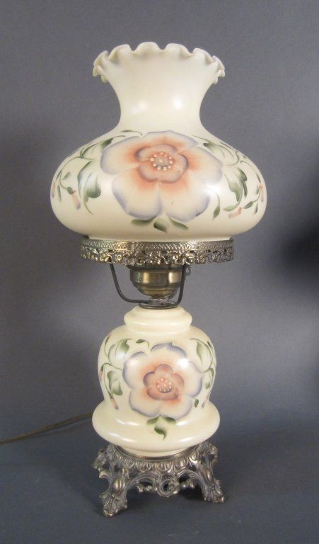 Victorian Milk Glass Parlor Lamp : Lot 565 From the estate of JohnMcDonald a handpainted milk glass parlor lamp. Converted to electric