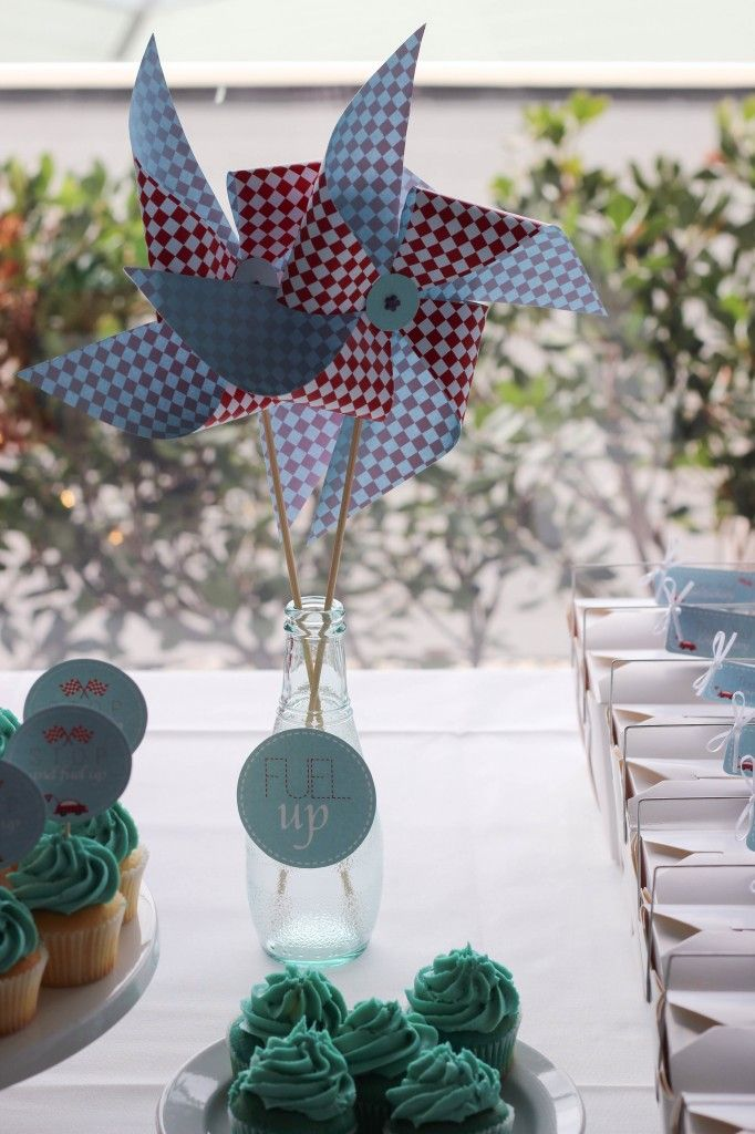 little-red-car-christening-party #pinwheels #party-decor