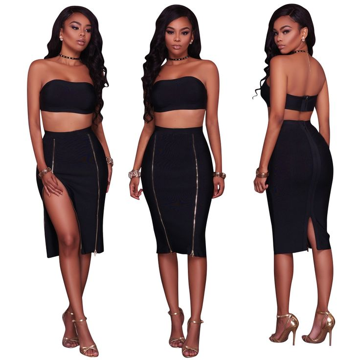 Sexy Club Dress Suits Strapless Top With Split Skirt Women Bodycon Dress Set #Affiliate