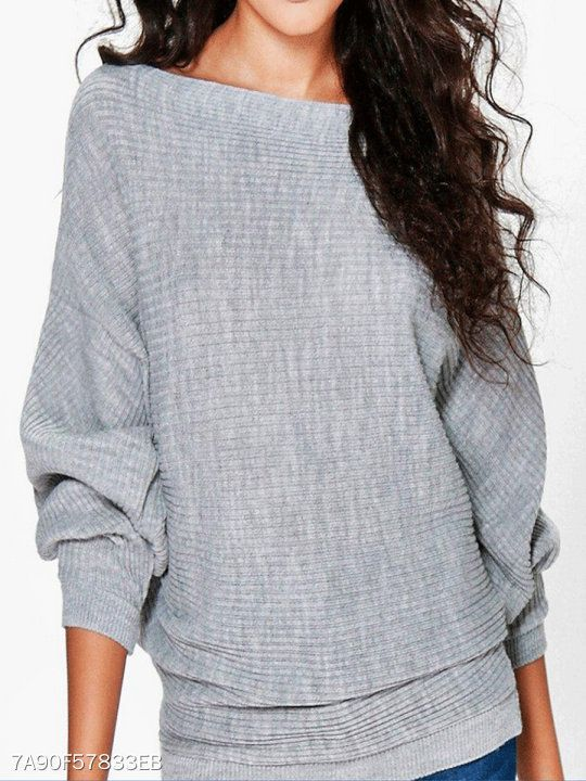 1093b0d7054 Boat Neck Plain Striped Batwing Sleeve Pullover in 2019