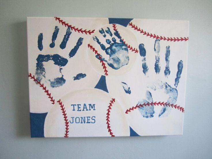 Original Personalized Baseball Family Handprint Canvas