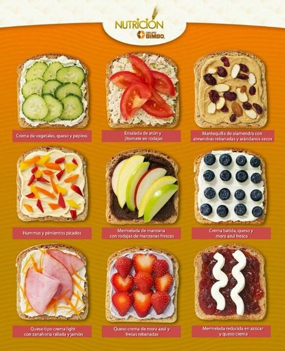 Pan integral y diferentes combinaciones para una cena ligera y sana.