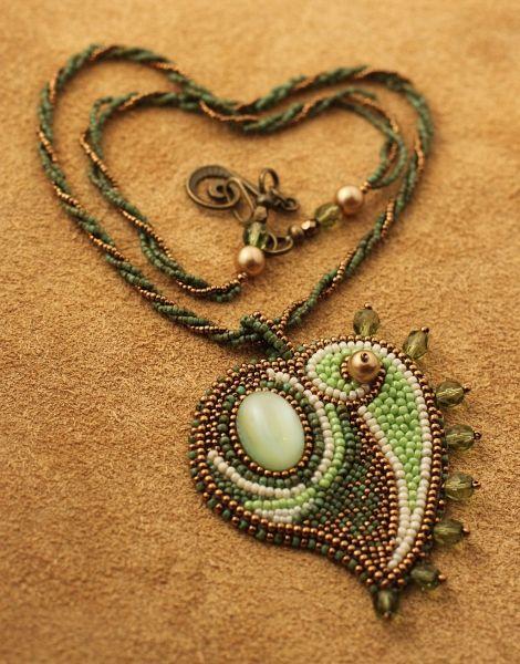 unique bead embroidery pendant