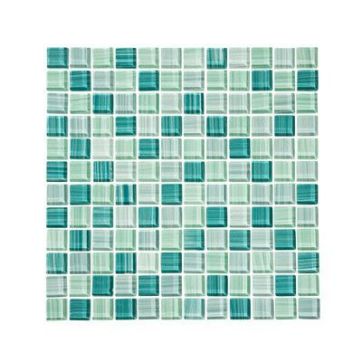 """VicciDesign Tropical Reflections Hand Painted 1"""" x 1"""" Glass Mosaic Tile in Green (Set of 11)"""