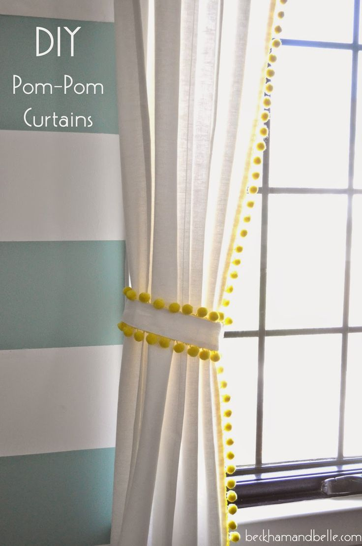 DIY $15 Pom-Pom Trim Curtains | Diy pom poms, Pom poms and ...