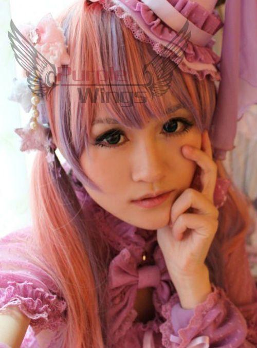 Японский Harajuku департамент молнии амо лолита длинные волны градиент косплей розовый и фиолетовый парик 80 см вьющиеся волосы