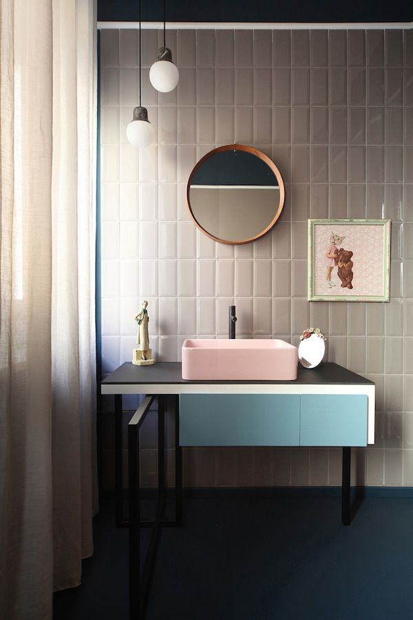Love This Beautiful Bathroom - Pastel Pink Sink, Sky Blue Cabinets, Cream Beveled Tiles + Circular Accents