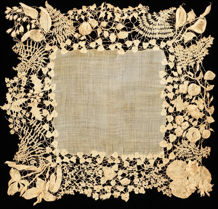 "Irish lace is""built up""by crocheting various motifs separately and then crocheting all the lil crocheted pieces & parts together. Sooo lovely. Antique Irish lace crochet, circa 1850"