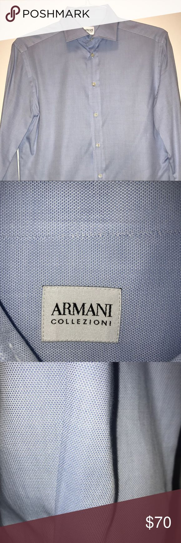 Armani Collezioni Men's Slim Fit Dress Shirt Armani Collezioni Men Slim Fit Cotton Dress Shirt Blue by Armani. Armani Collezioni Shirts Dress Shirts