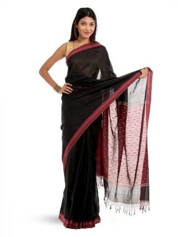 Fabindia Black & Maroon Sari | Myntra via @myntra