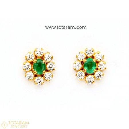 22K Gold Earrings for Women with Emeralds & Cz - 235-GER8057 - Buy this Latest Indian Gold Jewelry Design in 4.250 Grams for a low price of $321.50 #GoldJewelleryLatest