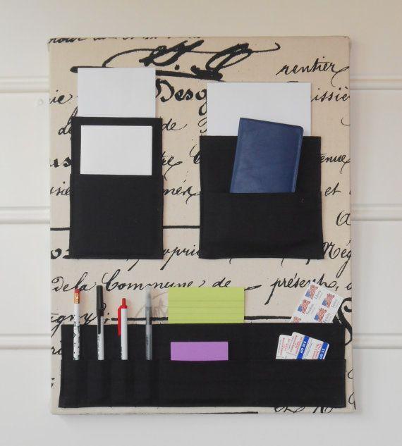 "16"" x 20"" Wall Pocket Organizer with Penmanship Fabric on Etsy, $63.76 AUD"