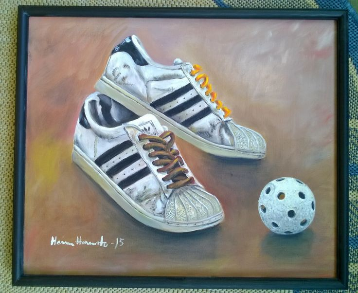 Oil painting. 57*65 cm. Adidas Superstars and a ball.