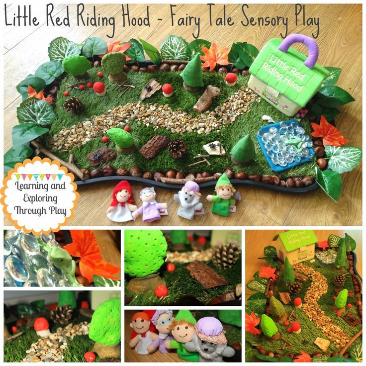 Learning and Exploring Through Play: Little Red Riding Hood Small World Sensory Play