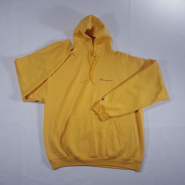Champion Yellow gray Spell Out Hoodie Pullover Sweatshirt XL 50/50 blend VTG 90s