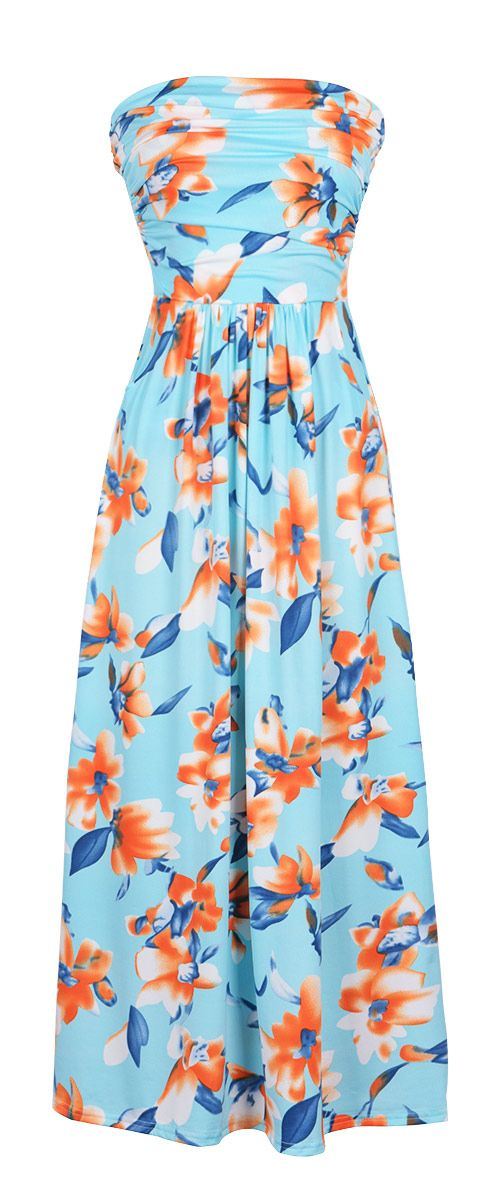 This maxi sets the record for beauty! You really can't get any more gorgeous than that fit! It's tied waist shows off your amazing figure and that tube top style is so trendy and feminine!