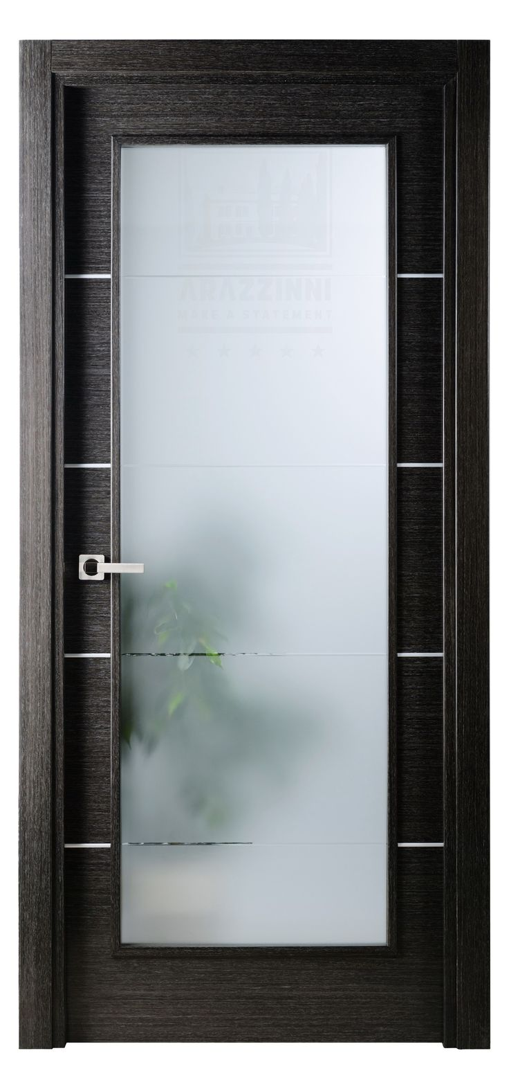 Single interior glass doors - Avanti Vetro Interior Door In A Black Apricot Finish With Silver Strips And Frosted Glass