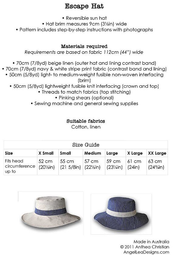 Mens Hat Pattern. PDF Digital Pattern. Escape Man Hat Sewing Pattern.  Reversible Sun Hat for Guys. Instant Download  54767d94a4b0